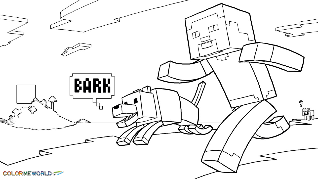 Minecraft Steve And His Dog Coloring Page Wallpaper Imagenes De Minecraft Minecraft Dibujos Dibujos Para Colorear Adultos