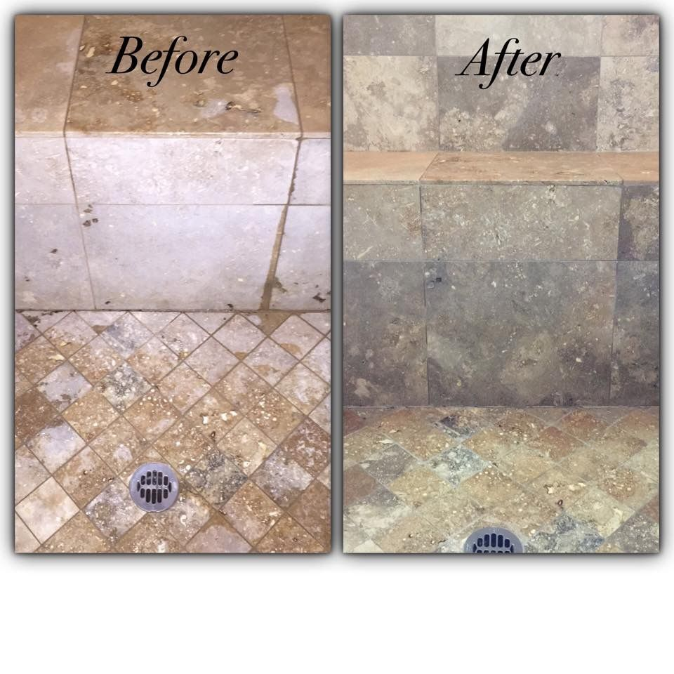 Travertine Shower Cleaning This Was Done With An Alkaline Based