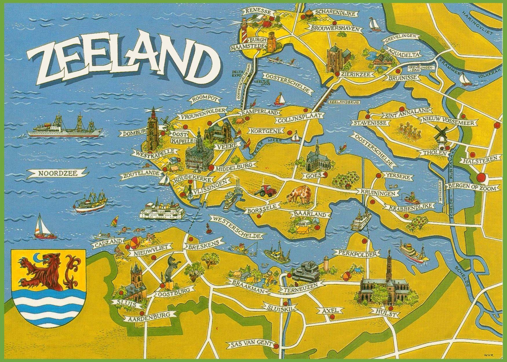 Zeeland Tourist Map The Tourist Vakantiekaarten Ansichtkaart