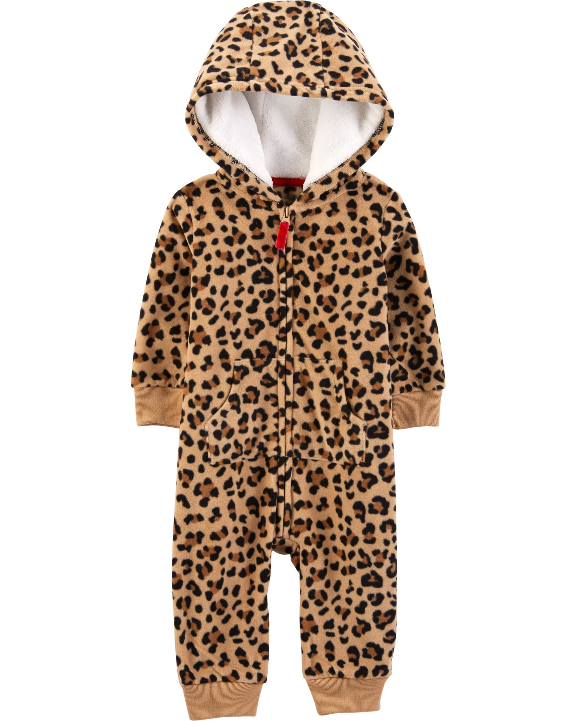 Leopard Hooded Fleece Jumpsuit Carters Baby Girl Leopard Baby Clothes Girls Cheetah Print