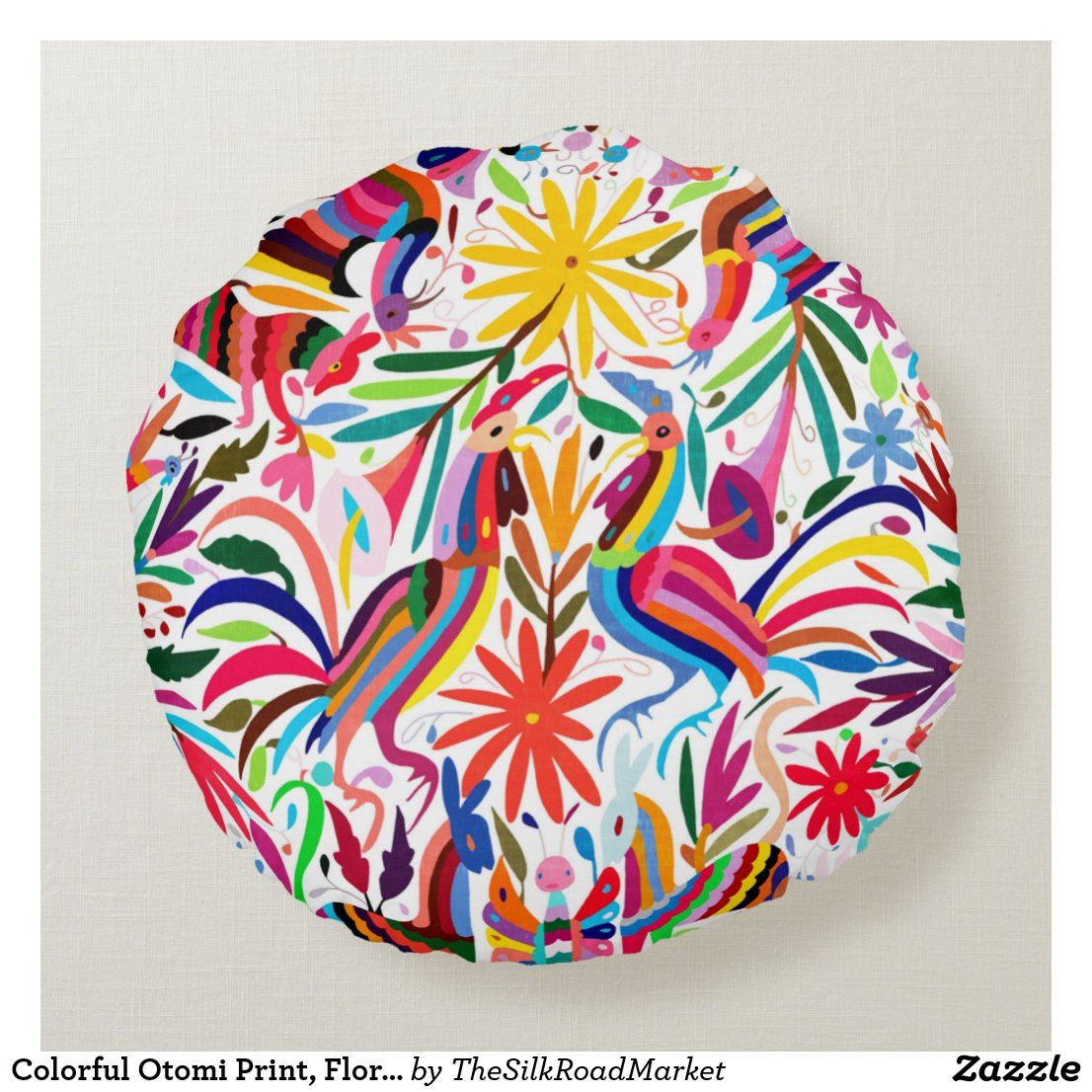 Colorful Otomi Print, Floral/Animal Pattern Round Pillow