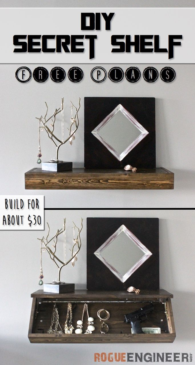 DIY Secret Floating Shelf - Free Plans | More Rogues ideas