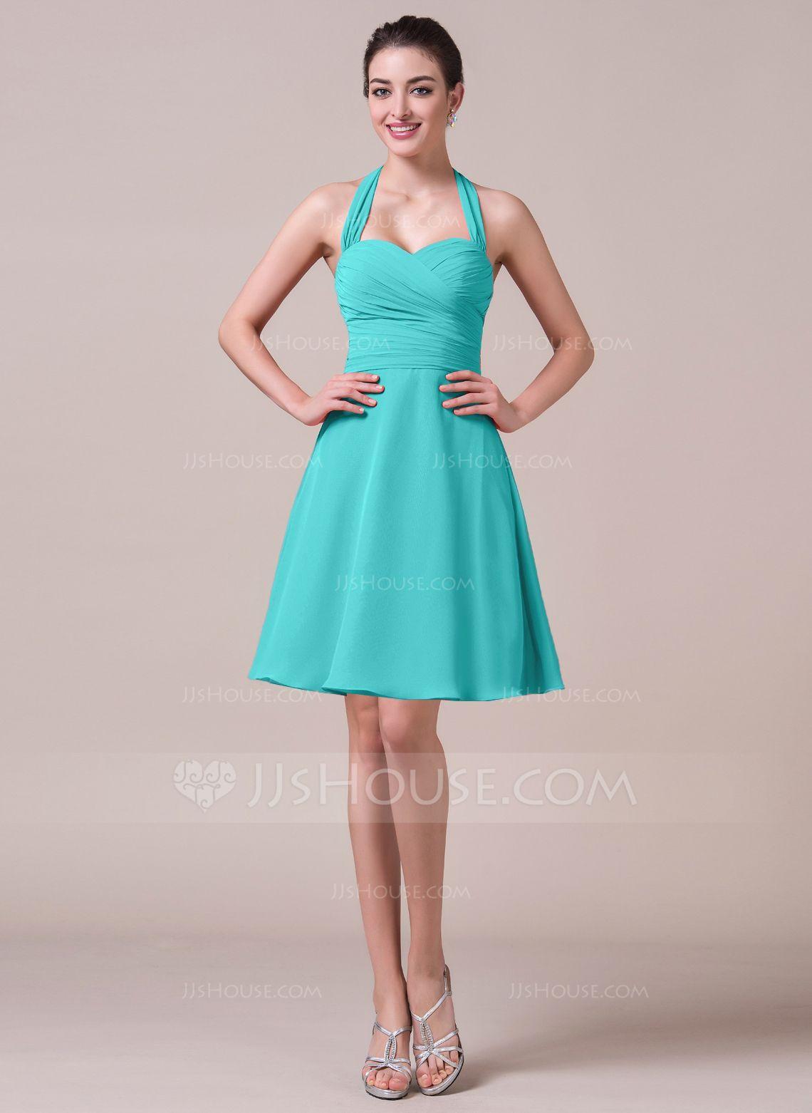 A-Line/Princess Halter Knee-Length Chiffon Bridesmaid Dress With ...