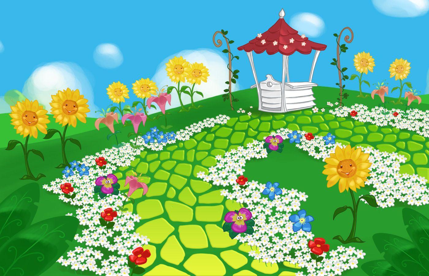 Картинка для детей цветник