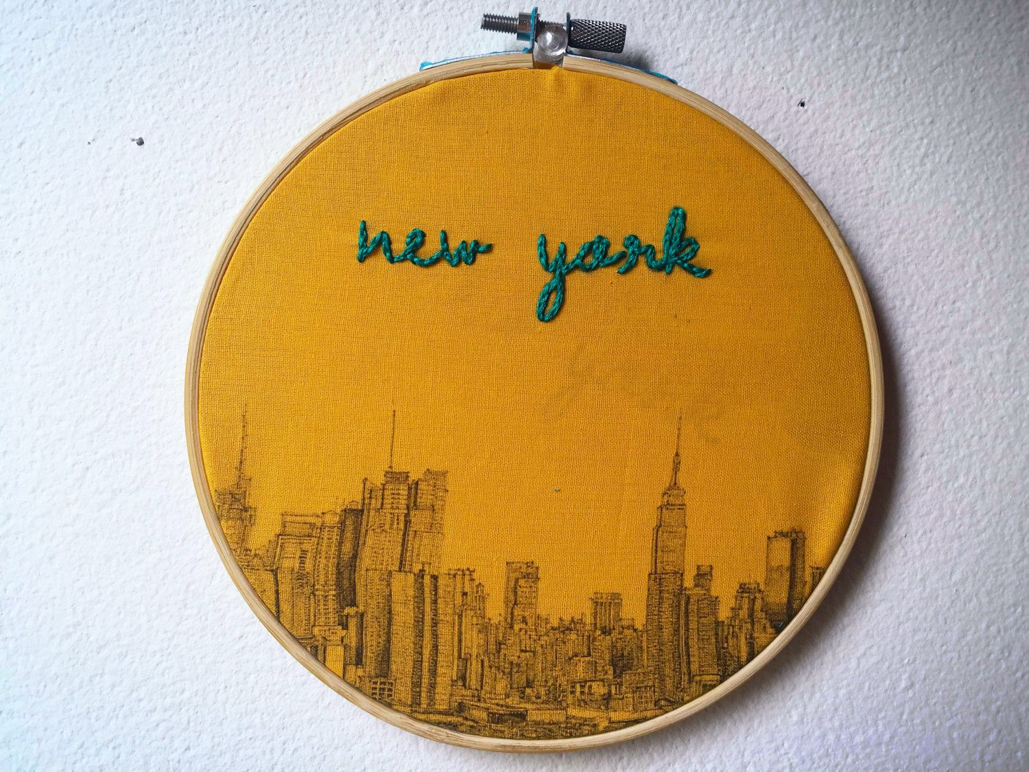 New York Skyline Handmade Stitch Embroidery Hoop Pattern Design Wall ...