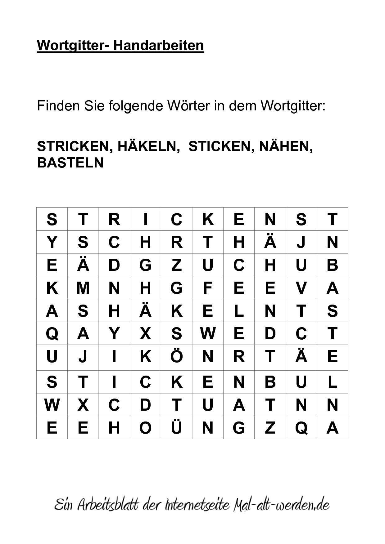 Wortgitter- Handarbeiten | 10min-Aktivierung/Gruppen ...