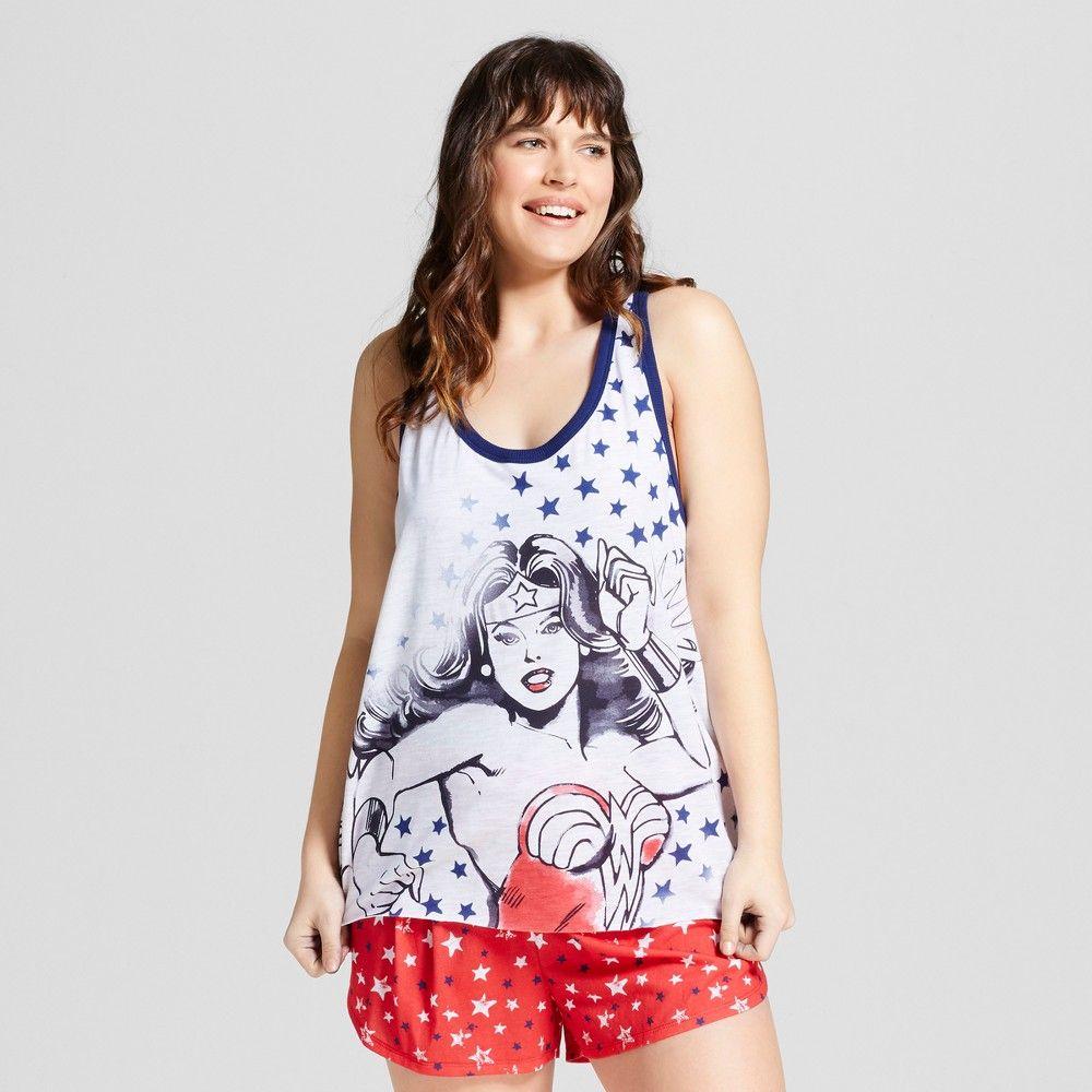 women's plus size wonder woman pajamas tank/boxer set - red/white