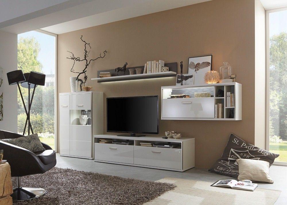 Wohnwand Trento Weiß Hochglanz mit Grau 20702 Buy now at