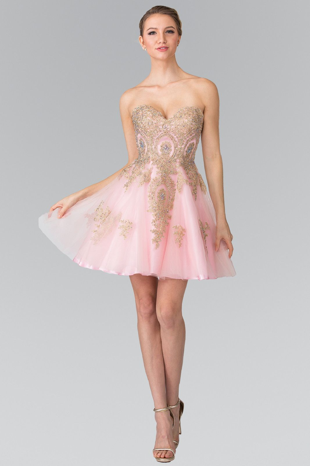 799facee9 Short Strapless Dress with Gold Lace Applique by Elizabeth K GS2371 ...