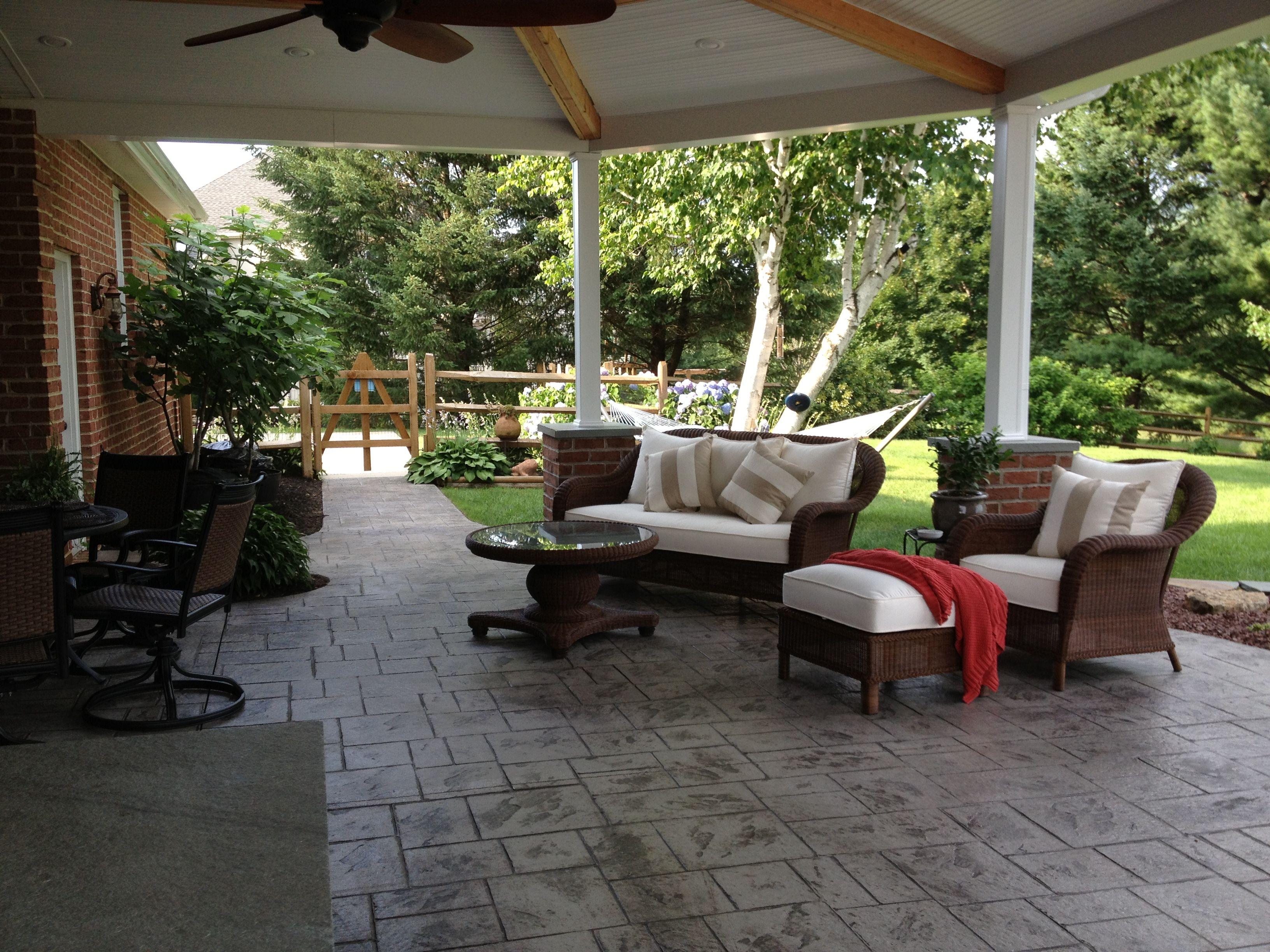 Covered patio finally finished! | Patio, Backyard retreat ...