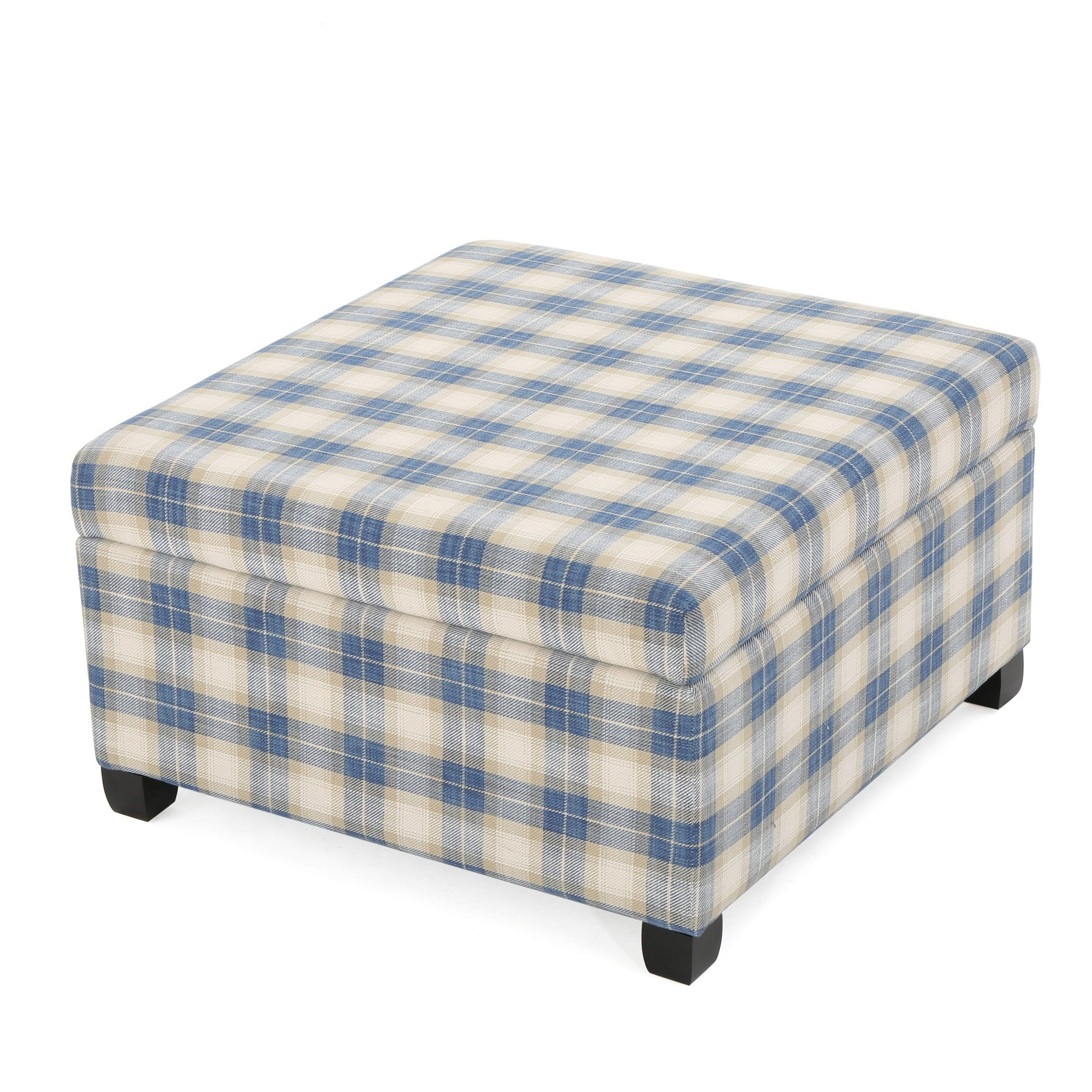Matteo Plaid Pattern Fabric Square Storage Ottoman Bench By Christopher  Knight Home (Blue Plaid)