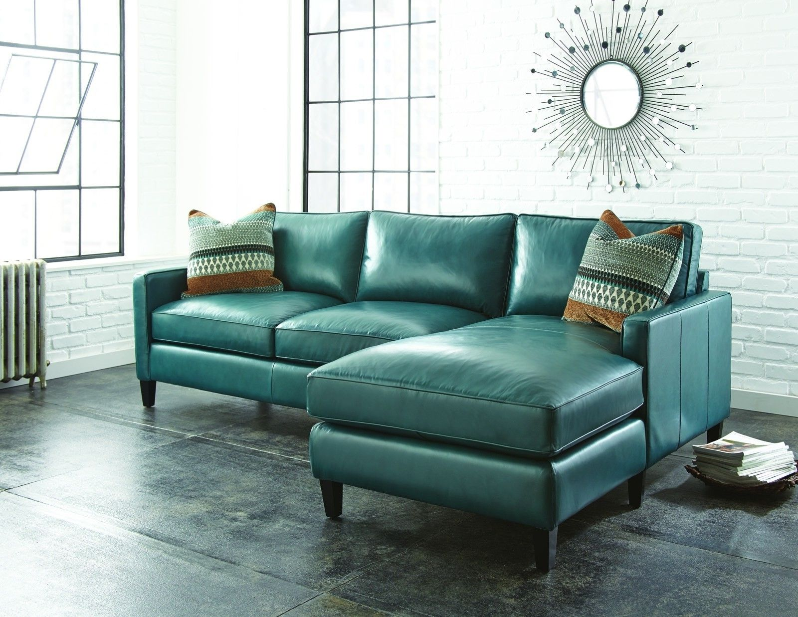 Teal Leather Sectional Sofa With