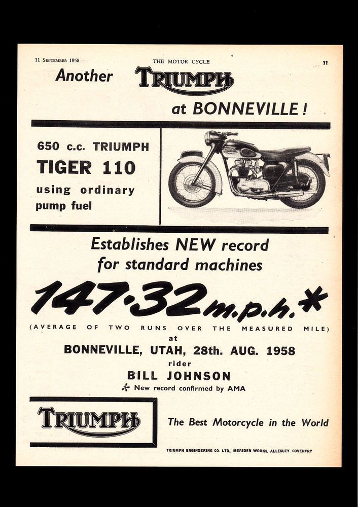 september 1958 triumph 650 tiger 110, t110 motorcycle. magazine
