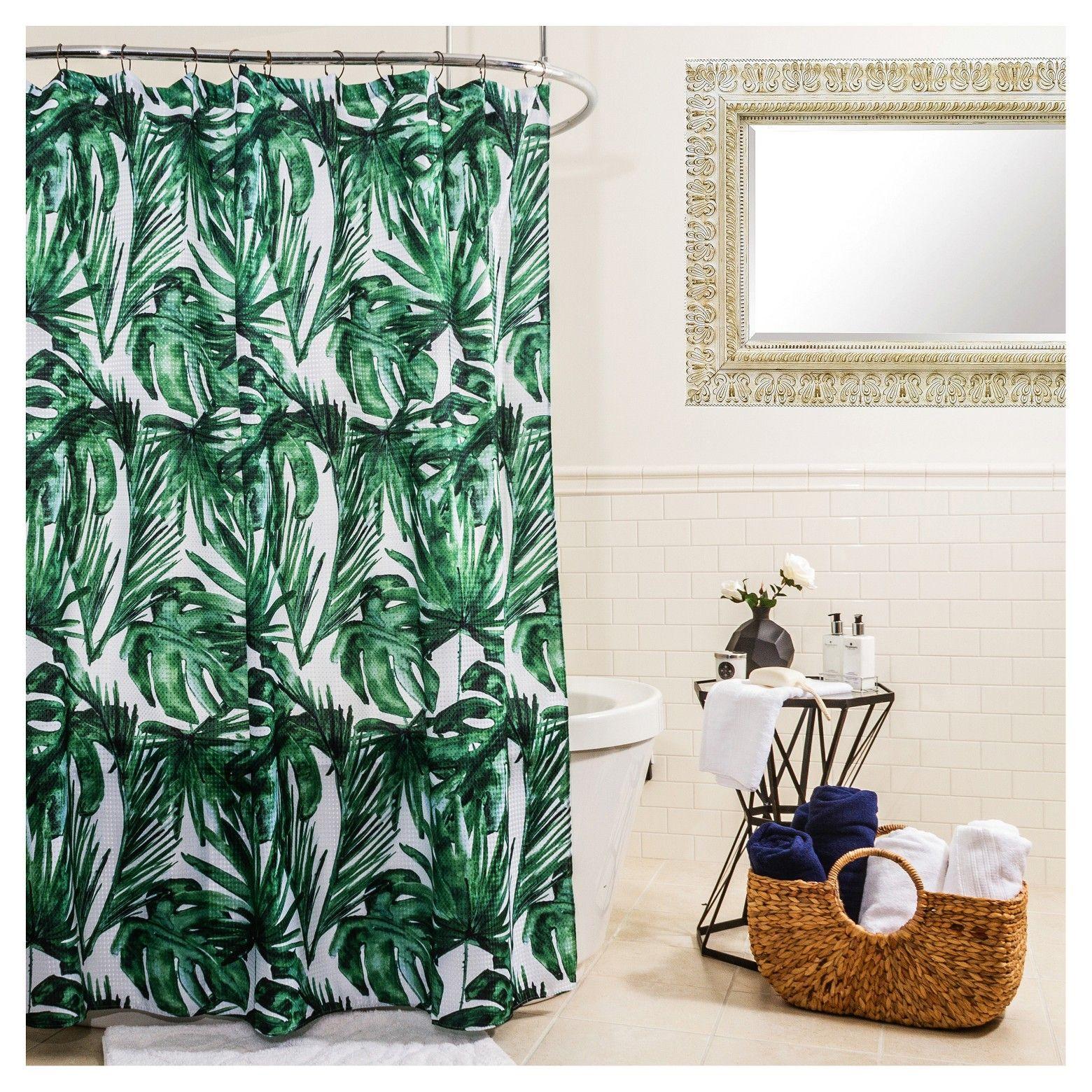 Shower Curtain Splash Home Leaf Emerald Green White Palm Springs