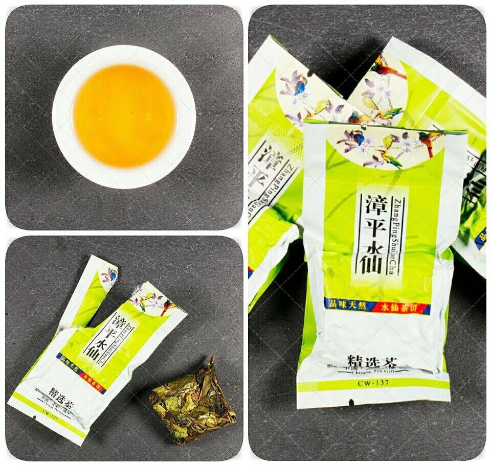 """""""N108 Zhangping Shui Xian (Narzisse Oolong)"""" In der chinesischen Sprache der Name der Tee Shui Xian wird so geschrieben: 水仙.  Übersetzt heißt: """"Narzisse"""". Dies ist einer der beliebtesten Tee in China. Die Chinesen kennen diesen Tee Lieben und manchmal sogar vergöttern ihn.  Shui Xian Tee wird angebaut und verarbeitet auf den Plantagen in der Nähe des Ortes Wuyi.  Der Tee isttransparent und hat eine dunkelgelbe farbe. Die Kugeln werden per Hand geformt jeder Kugel wiegt etwa 12 g."""