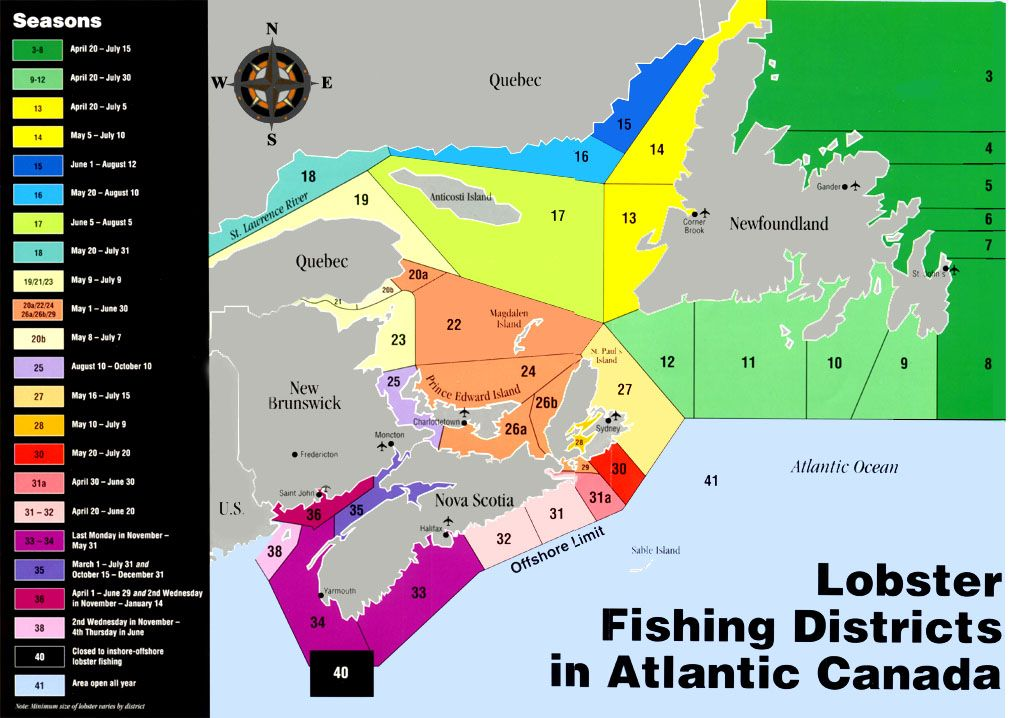Lobster fishing districts in atlantic canada we are in for Fishing areas near me
