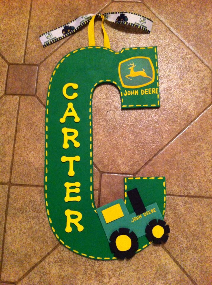 John deere 13 initial art personalized homemade nursery for Homemade wall letters