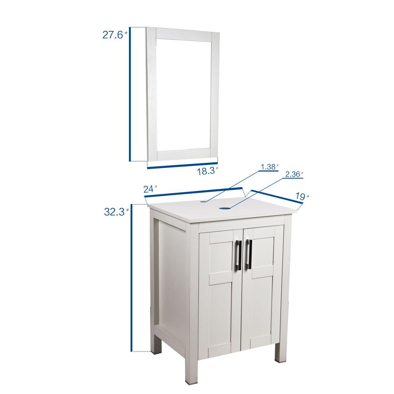 24 Single Bathroom Vanity Wood Cabinet Storage Vessel Sink