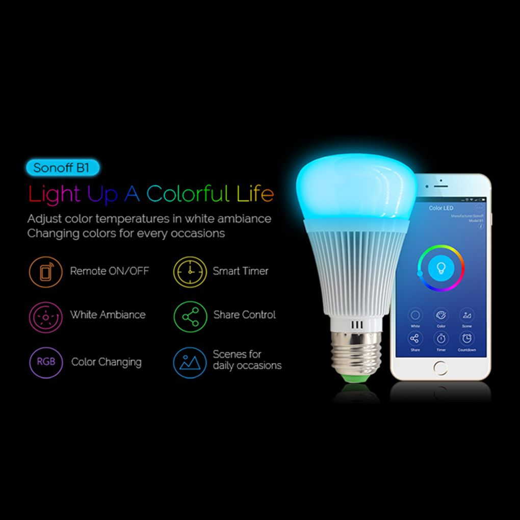 Remote Light Itead B1 Led Sonoff Bulb Dimmable Lamp E27 Wifi Smart AqL3jc45R