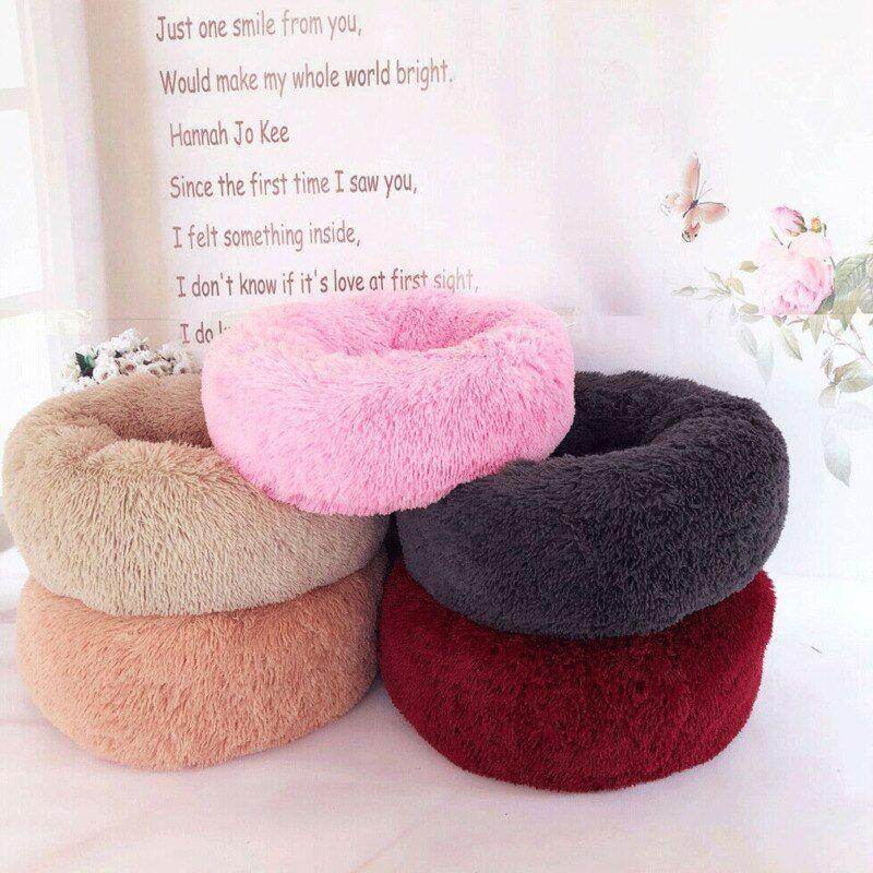 2019 Soft Warm Fluffy Plush Round Cute Donut Nest Pet Cat