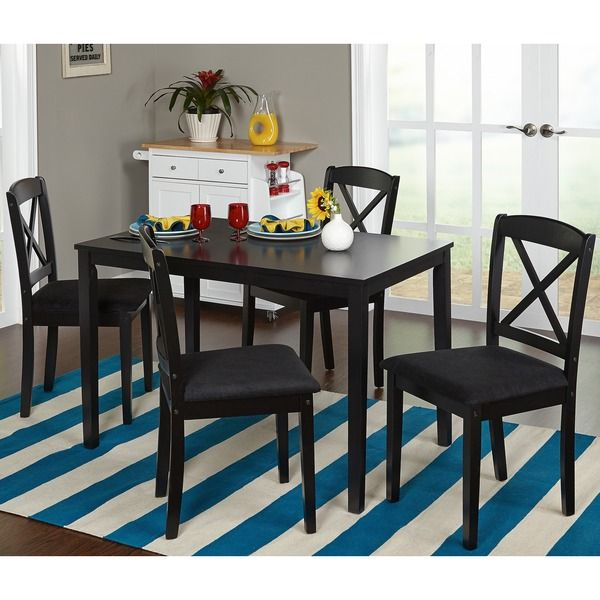 Simple Living Black 5 Piece Crossback Dining Set | Overstock.com Shopping    The