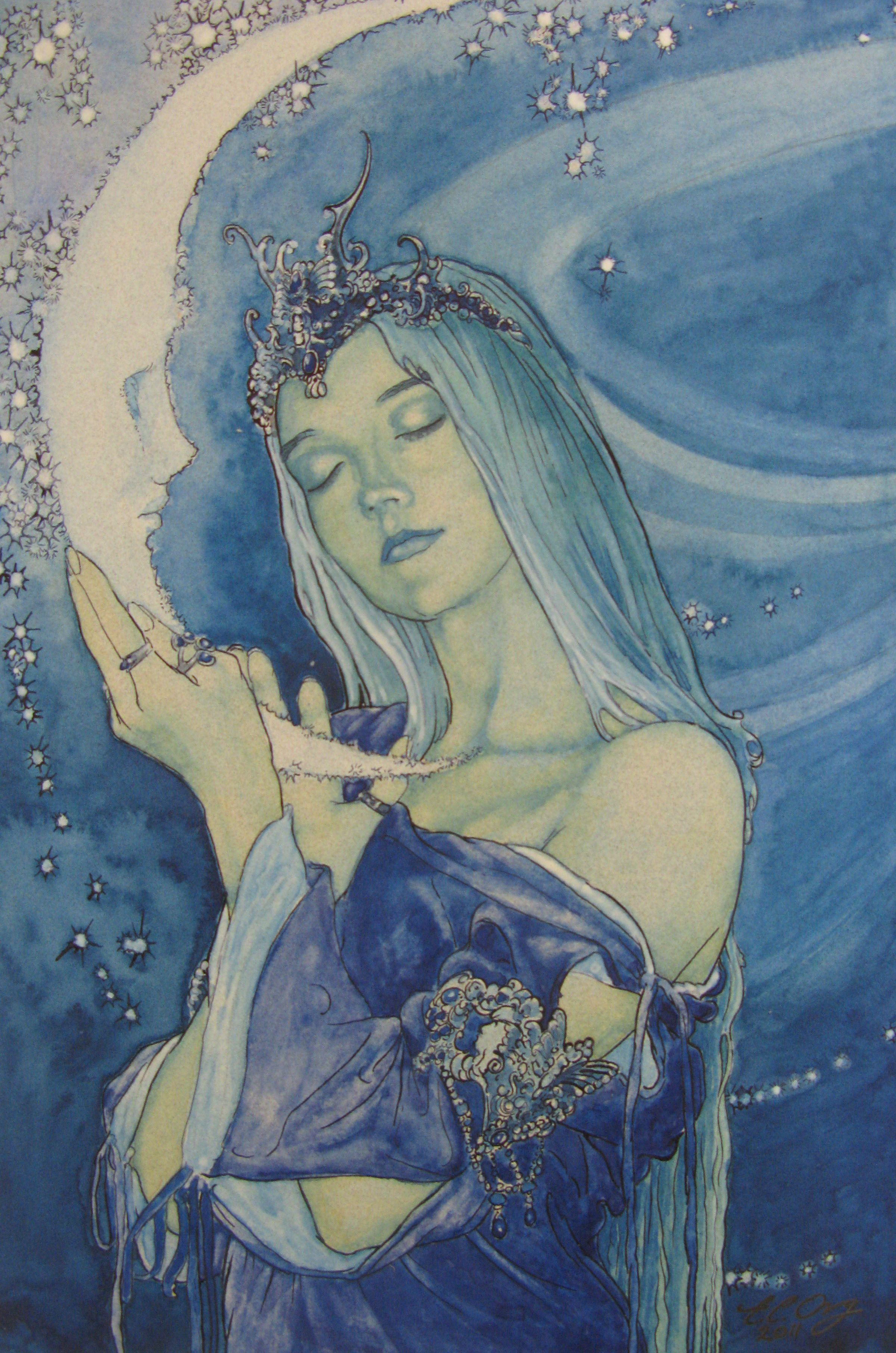 Beautiful Moon Goddess Drawing