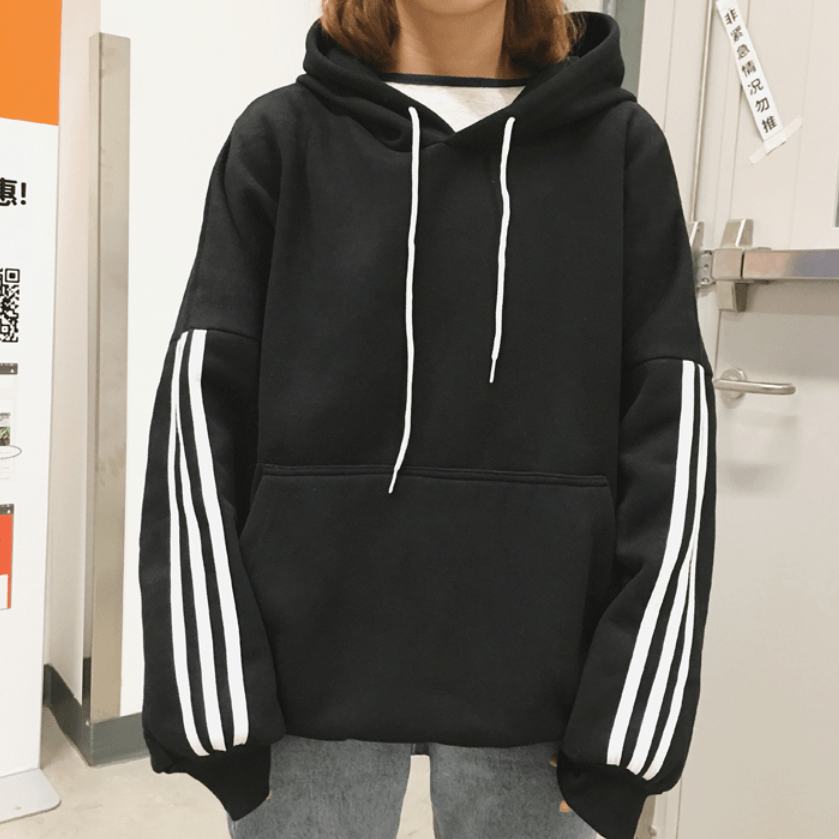 Itgirl Shop Sportish Triple White Lines Sleeve Oversized Hoodie