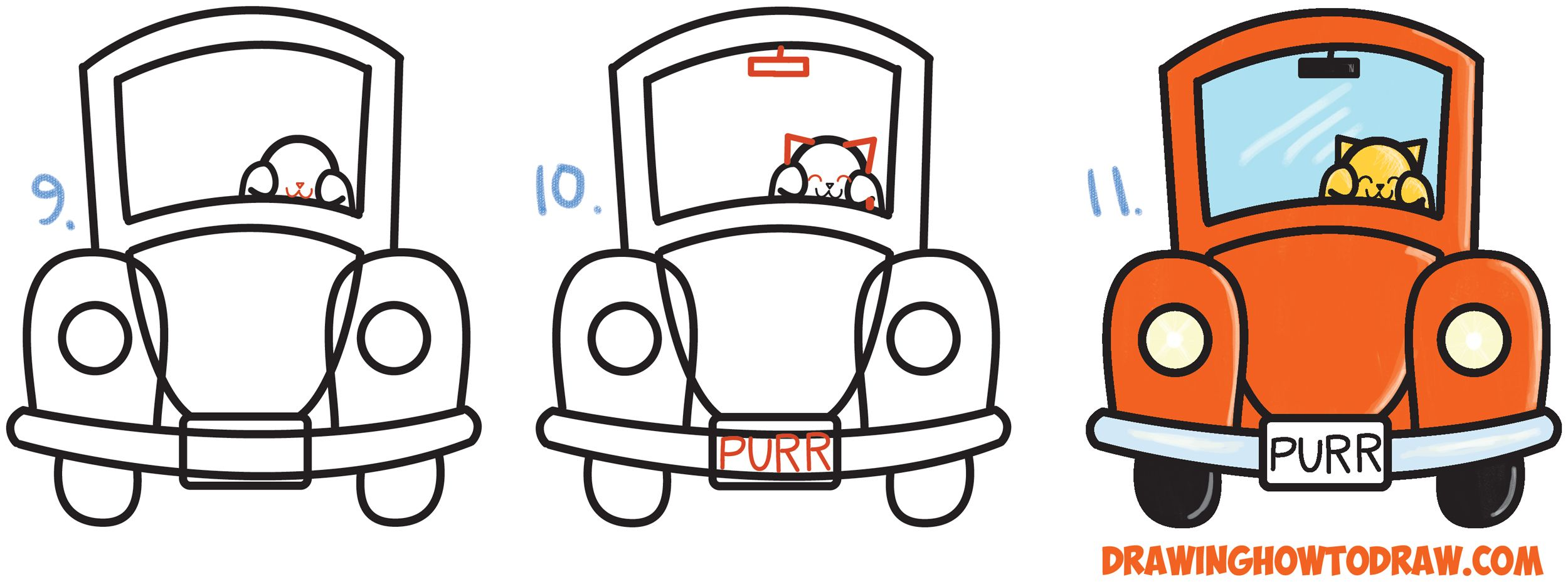 How To Draw Cute Cartoon Cat Driving A Car From Exclamation Points