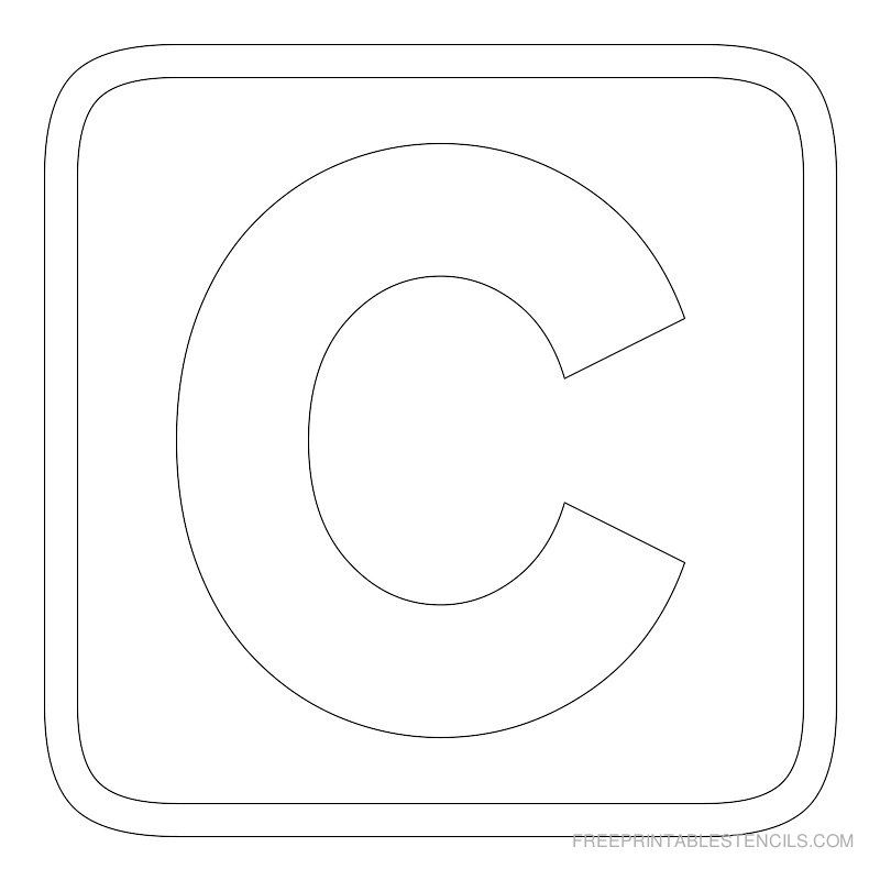 Printable block letter stencil c alphabets pinterest for C letter block