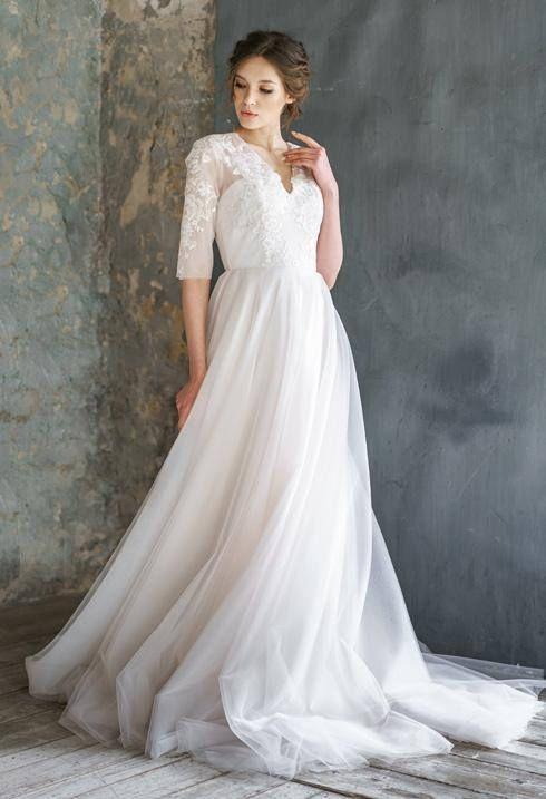 RAUZA / long sleeve lace wedding dress Bohemian bridal gown Rustic ...