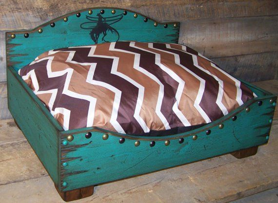 Turquoise Wooden Dog Bed - Handmade Rustic Dog Beds