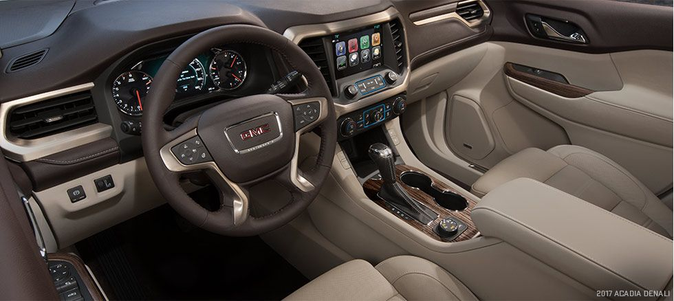 Premium And Authentic Materials Including Real Aluminum Trim On All Models Contrasting Stitching And Unique Interiors On De Mid Size Suv Acadia Denali Acadia
