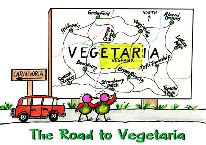 The Road to Vegetaria--A road trip to a mythical kingdom where happy and healthy because they are vegetarians. This story features food substitutions to help people convert to a vegan diet. #[KW]