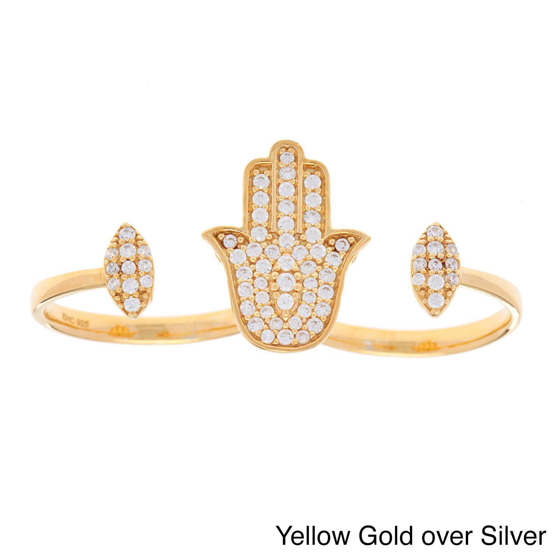 Stephanie Rockway Sterling Silver Cubic Zirconia Double Knuckle Hamsa Ring