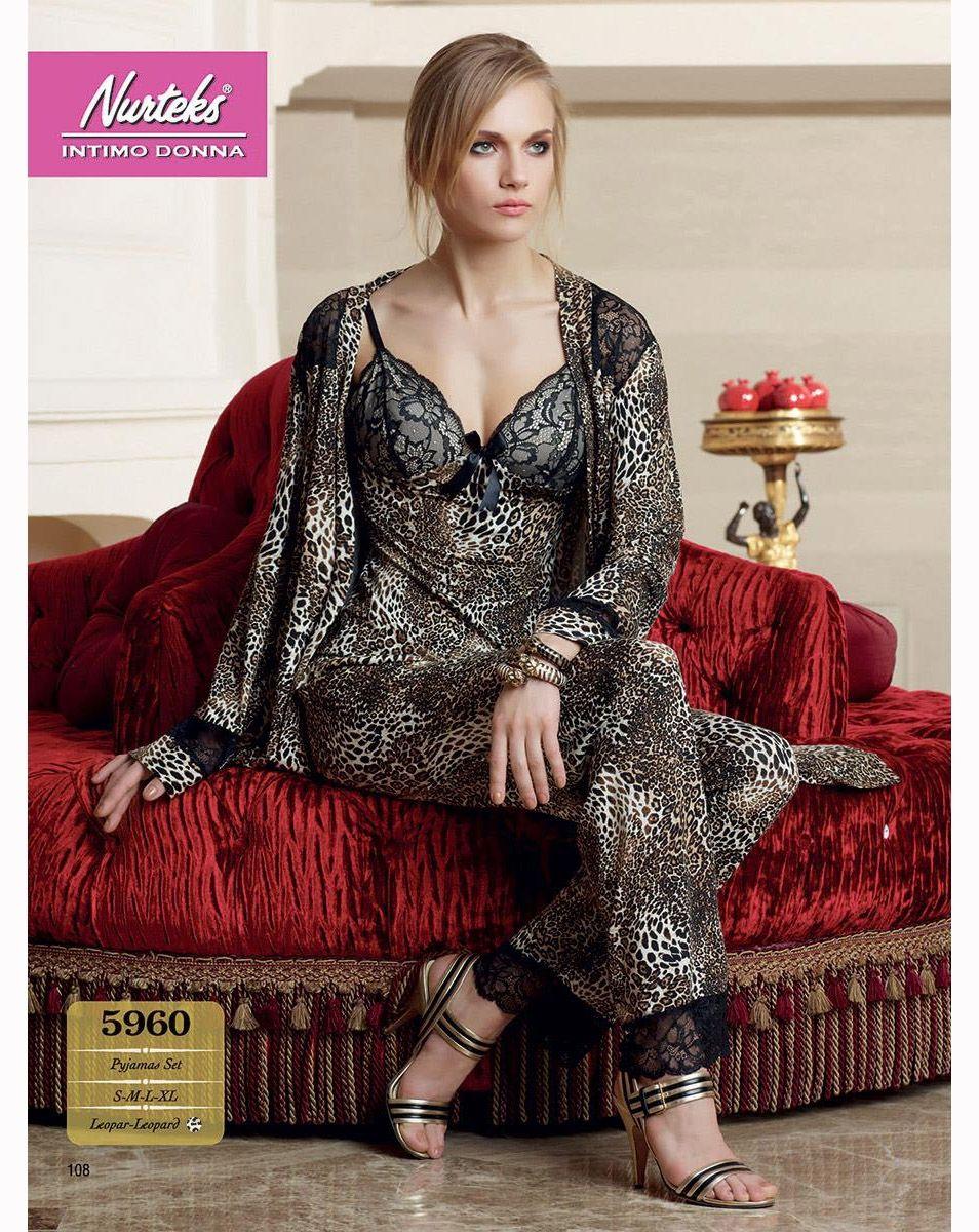 Nurteks 5960 Leopar Pijama Takım  | Markha.com  #YeniSezon #Sonbahar #BayanGiyim #BayanPijama #SatenPijama