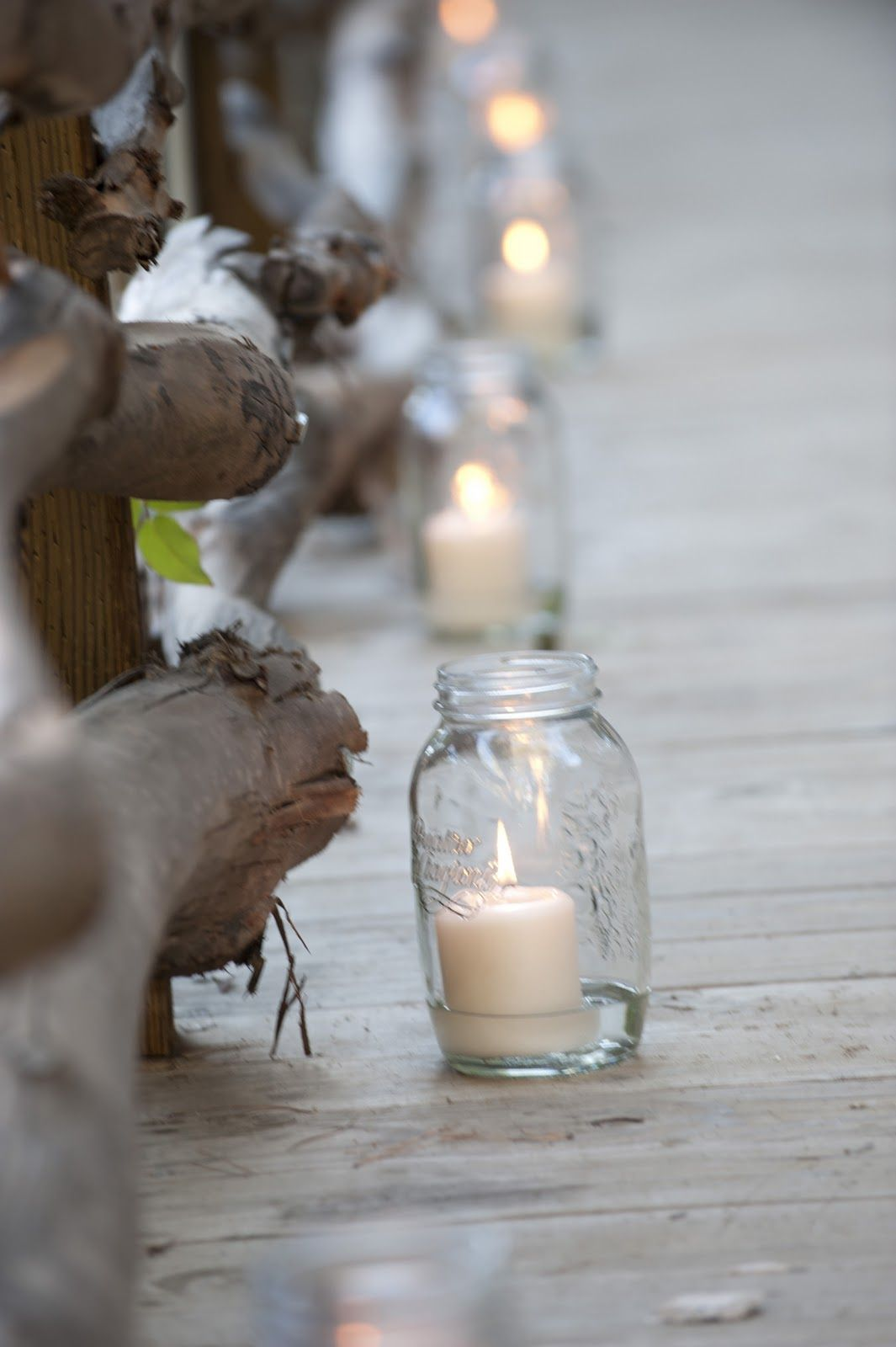 Diy camo wedding decorations  DIY with mason jars and Candle Impressions flameless votives  Mason