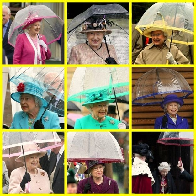 Image result for The Queen ALWAYS matches the colour of her brolly to her outfit
