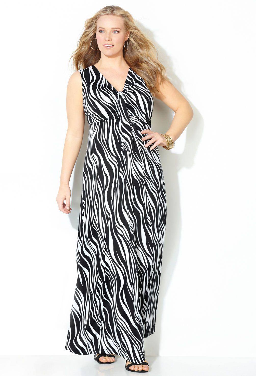 66270ab7061 Zebra Waterfall Maxi Dress-Plus Size Maxi Dress-Avenue