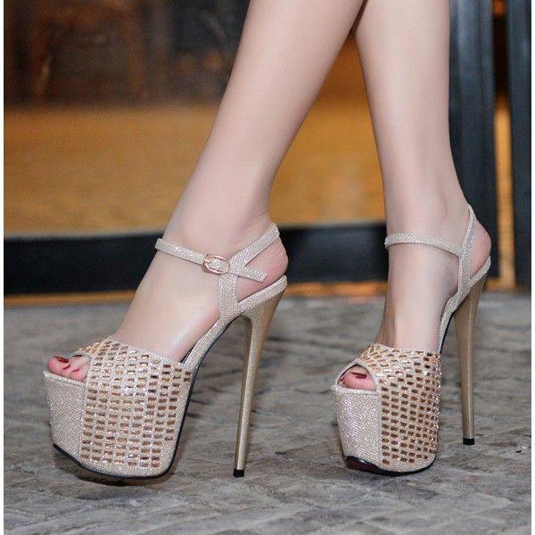 0f68f8b2a10f Women's Champagne Glitter Peep Toe Super Stiletto Heel Stripper Heels for  Party, Night club, Dancing club FSJ Design
