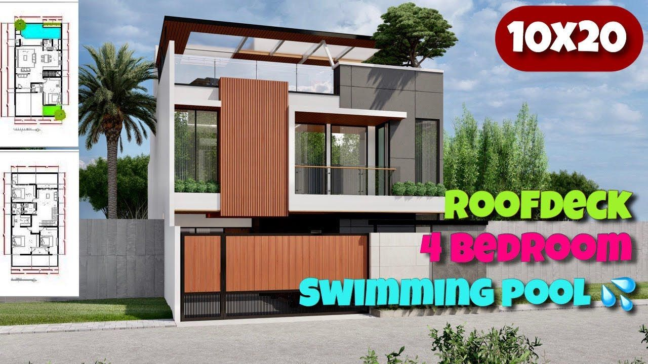 200sqm Modern House Design With Swimming Pool Desain Rumah Modern 10x20 Youtube Modern House Design House Modern House