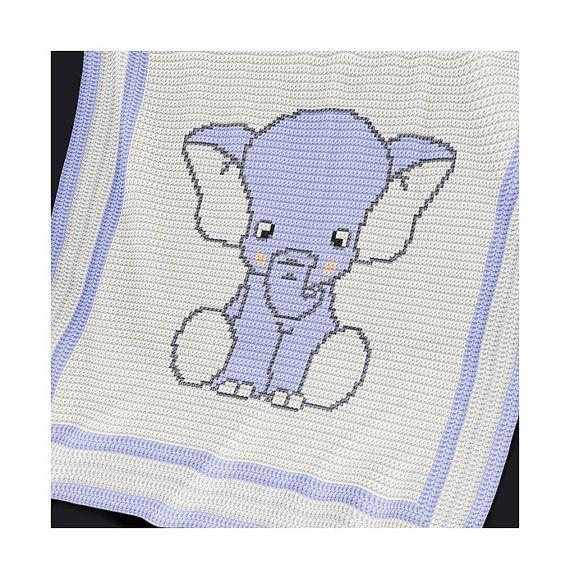 Crochet Blanket Pattern - Crochet Baby Blanket Pattern - Elephant ...