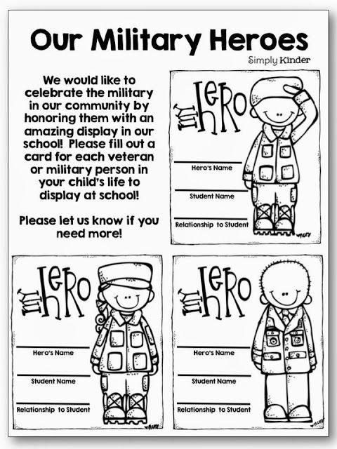 Military Heroes Freebie Veterans Day Kids Classrooms