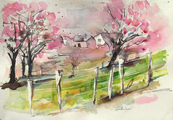 Aquarelle Originale D Un Paysage Avec Des Cerisiers En Fleurs En