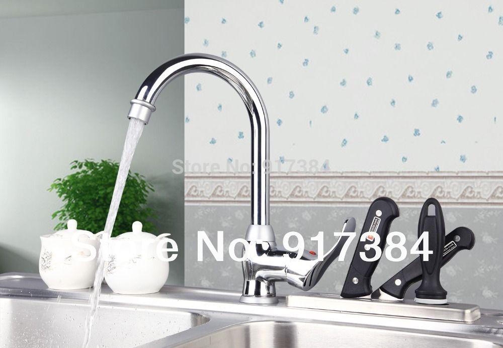 Kitchen Sink Basin Chrome Brass Single Handle Deck Mounted M-024 Mixer Tap Faucet