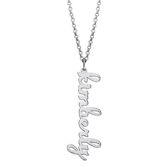Zales Lowercase Name Heart Necklace in Sterling Silver (1 Line) DrvR3d1Qg1