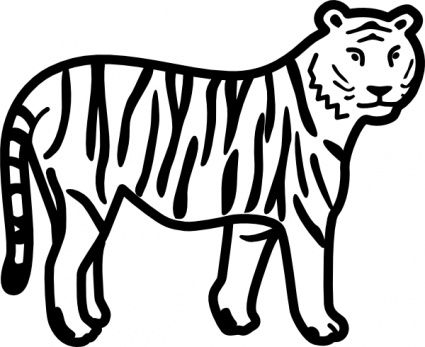 tiger standing looking watching outline animal cat cartoon