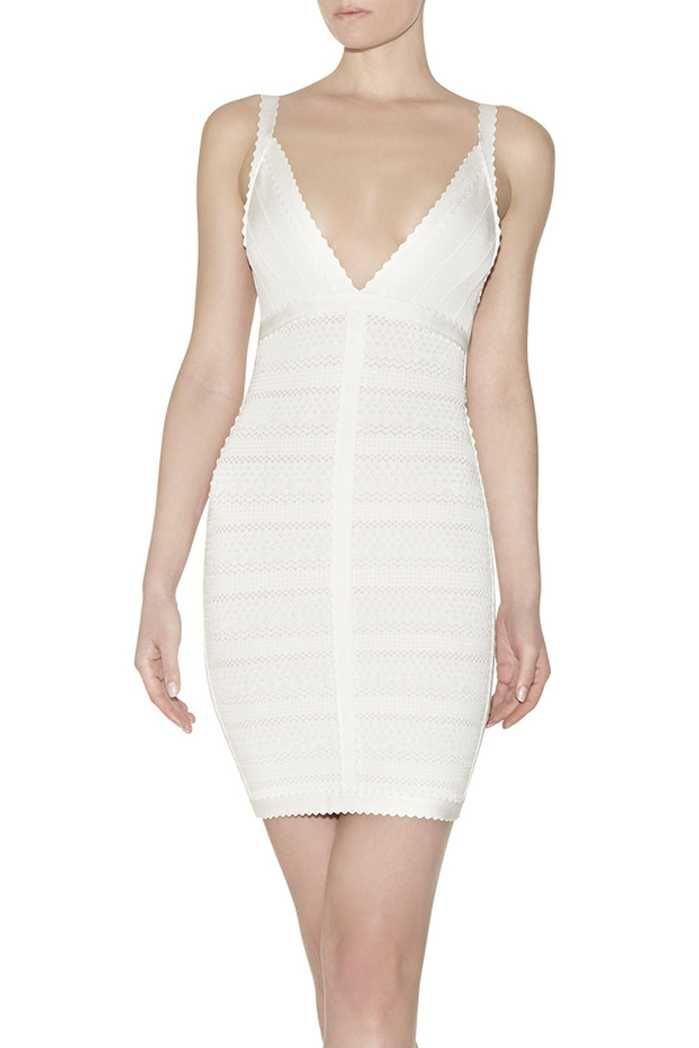 Herve Leger V-neck Lace-Stitched Scalloped-Trim White Dress