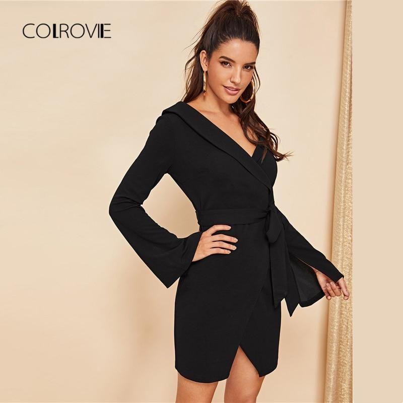 c93d237d434 COLROVIE Black Belted Asymmetric Shoulder Wrap Office Sexy Shirt Dress Women  2018 Autumn Long Sleeve Elegant Dress Mini Dresses