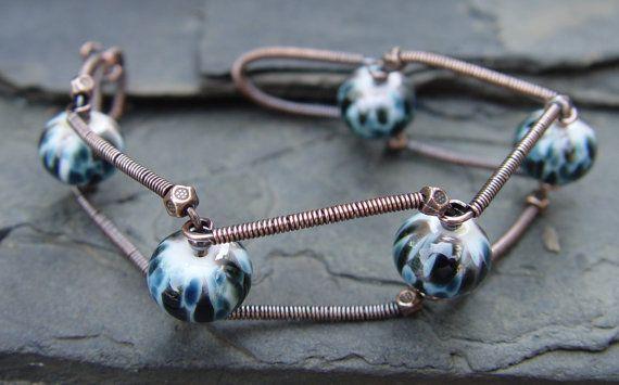 Industrial Revolution - Lampwork and Copper Bracelet Urban Chic Handmade