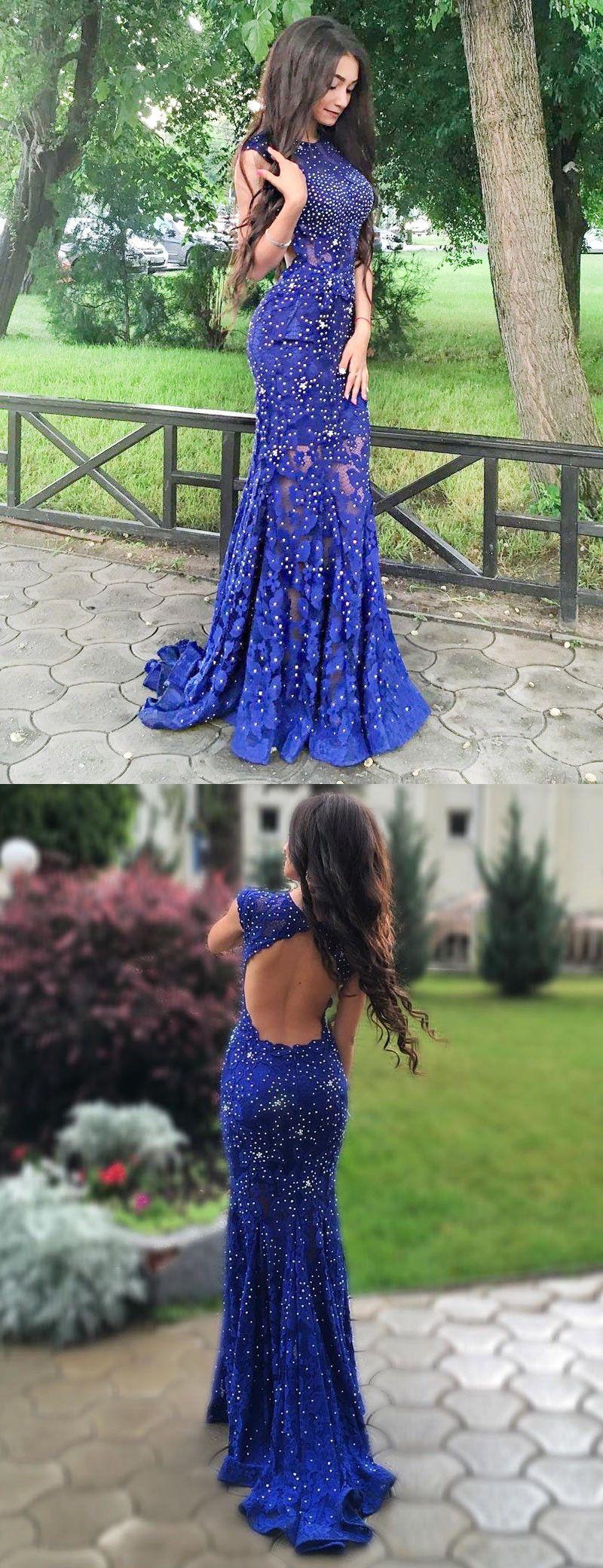 Exquisit Pinsel Schleppe Königsblau Spitze Mermaid Offenen Rücken